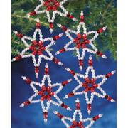 "Holiday Beaded Ornament Kit Ruby Stars 2.25"" Makes 8"