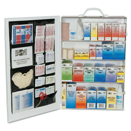 - Pac-Kit 4-Shelf Industrial First Aid Stations, Steel, Wall Mount