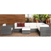 Marseille 8 pc Wicker Seating Set in Grey  with Off White Cushions