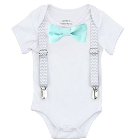 Noah's Boytique Baby Boys Take Home From The Hopsital Outfit Baby Shower Gift Grey Chevron Suspenders Mint Bow Tie