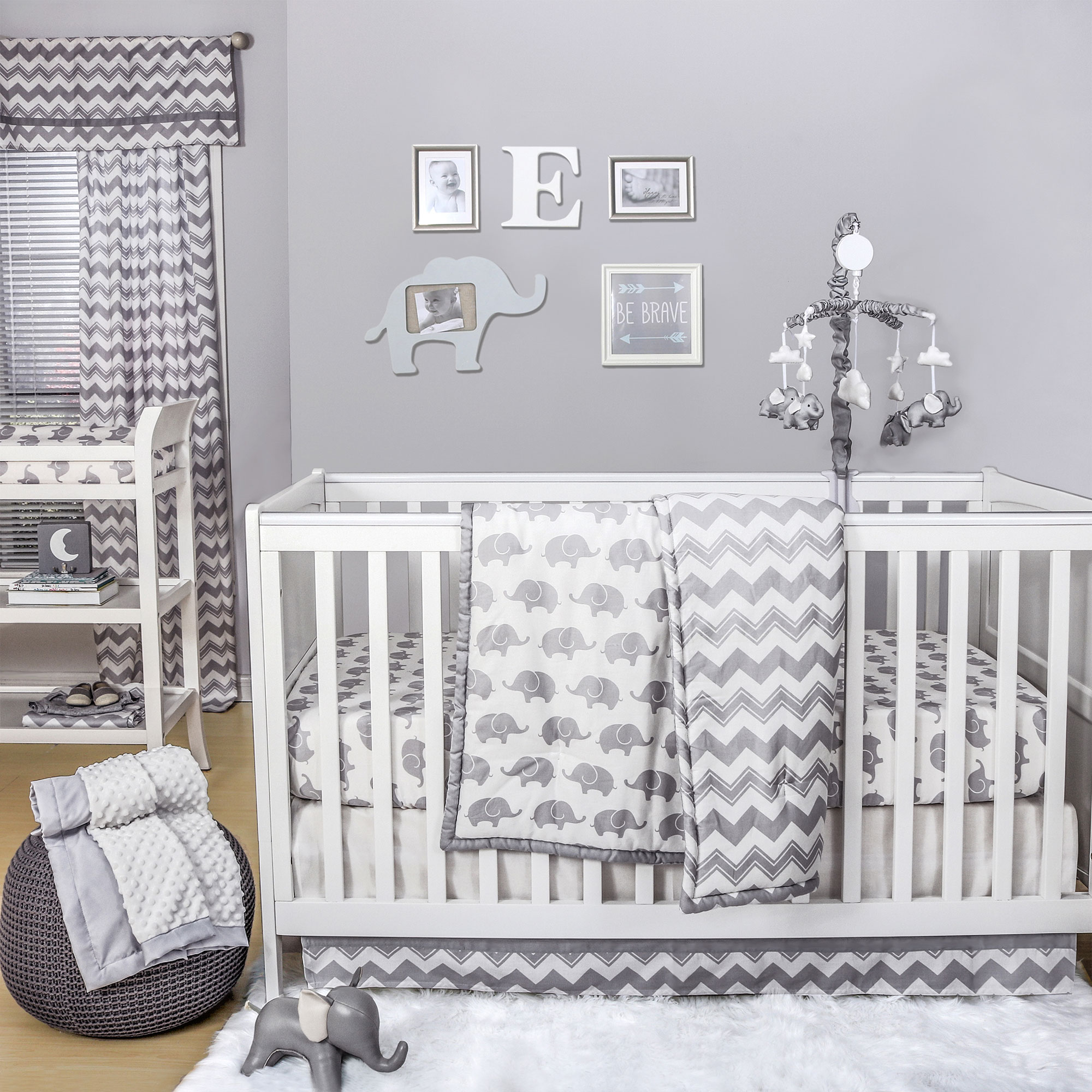 The Peanut Shell 4 Piece Baby Crib Bedding Set - Grey Zig Zag and Elephant Prints - 100% Cotton Quilt, Dust Ruffle, Fitted Sheet, and Mobile