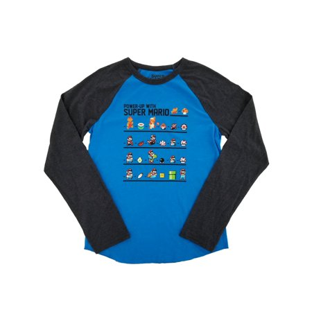 Nintendo Boys Heather Blue & Gray Power-Up With Super Mario Raglan Shirt XL](Minion Outfits)