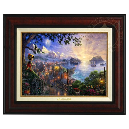 Thomas Kinkade Pinocchio Wishes Upon A Star - Canvas Classic (Burl Frame)