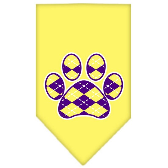 Argyle Paw Purple Screen Print Bandana Yellow Large