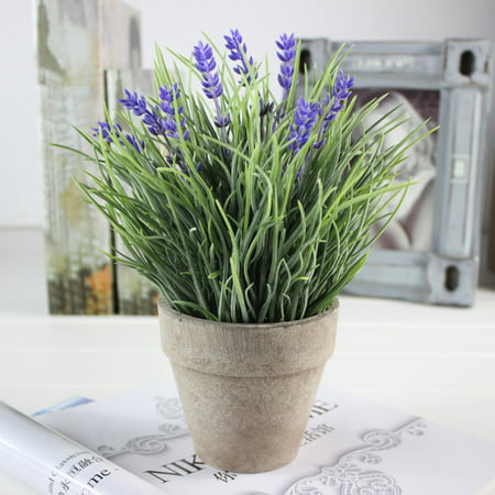 Artificial Flowers Provence Lavender Plant Arrangements in Pot for Home Decor (Purple, Green) (Pot Of Flowers Halloween)