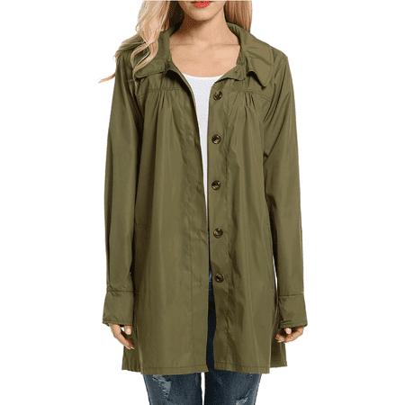 ed04da65aac Women's Army Green Waterproof Raincoats for Juniors, Lightweight Packable Long  Rain Coat Jackets for Women, Active Outdoor Hooded Rain Coats, S-2XL