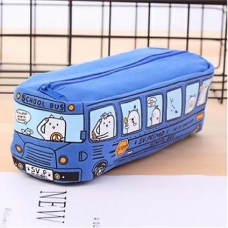 students Kids Cats School Bus pencil case bag office stationery bag FreeShipping ()