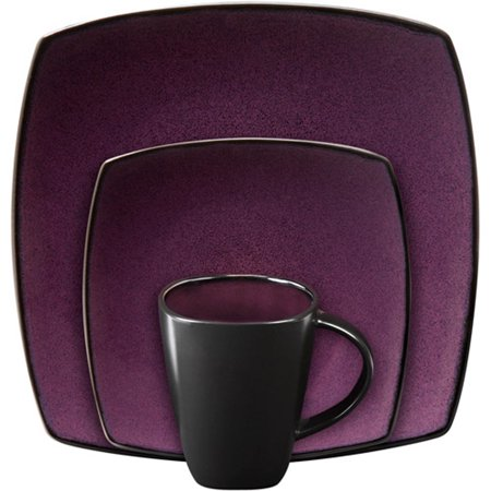 Gibson Soho Lounge Square 16 Piece Dinnerware Set Purple