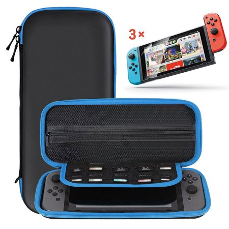 2in1 Starter Kit for Nintendo Switch Game Console, Portable Travel Hard Shell Carrying Case, 3-pack Clear HD Full Coverage Screen Protector Film Guard (Portable Xbox 360 Screen)