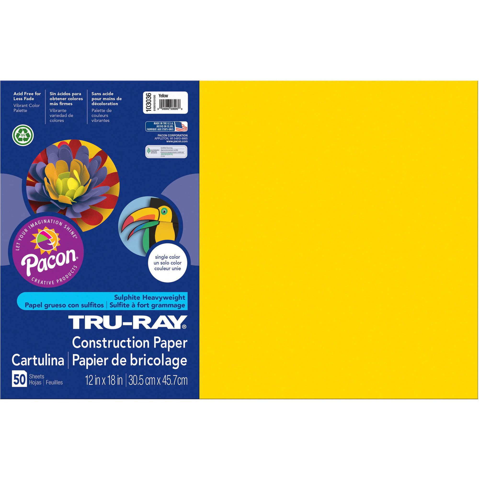 "Tru-Ray Construction Paper, Yellow, 12"" x 18"", 50 Sheets"
