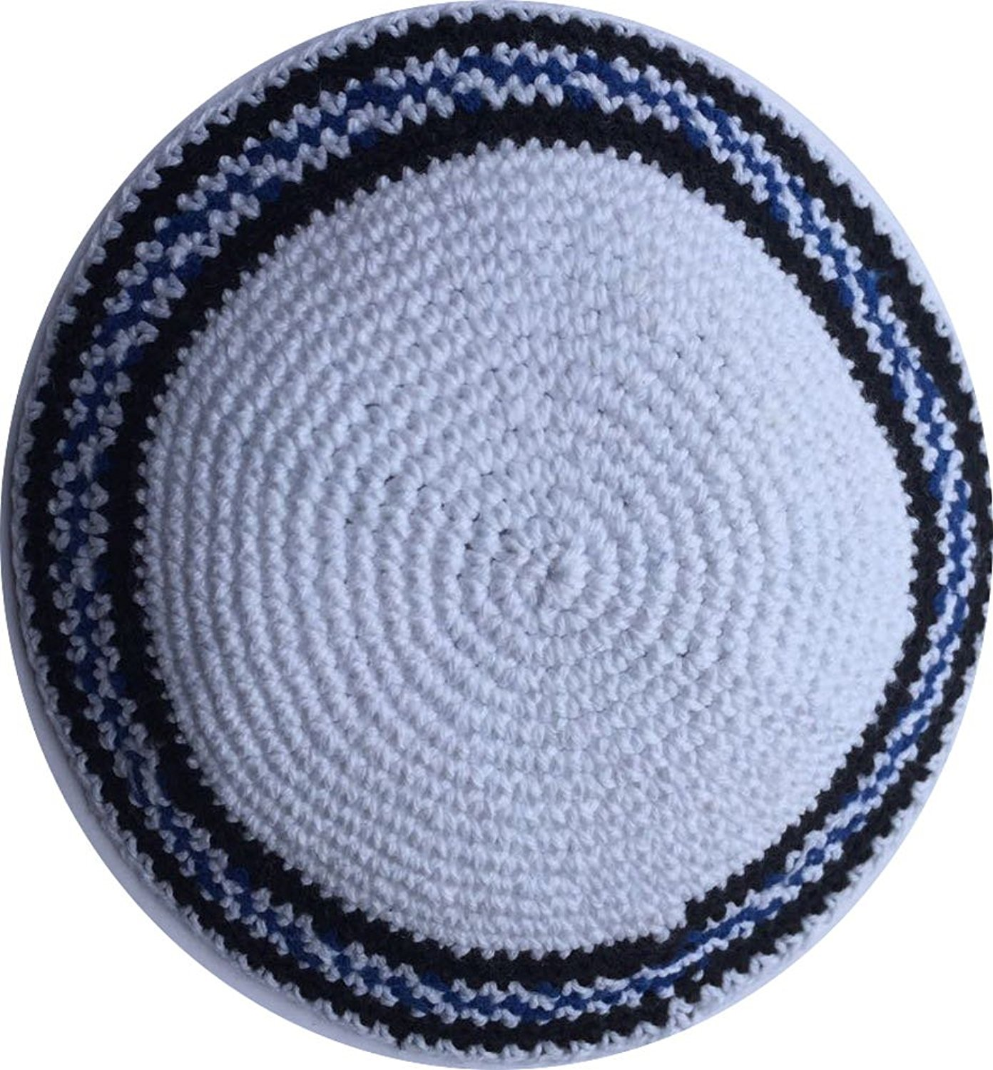 White / Black and Royal Blue lines 17cm DMC 100% Knitted Cotton Kippah Jewish