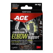 ACE Compression Elbow Support, Small/Medium, Black, 1/pack