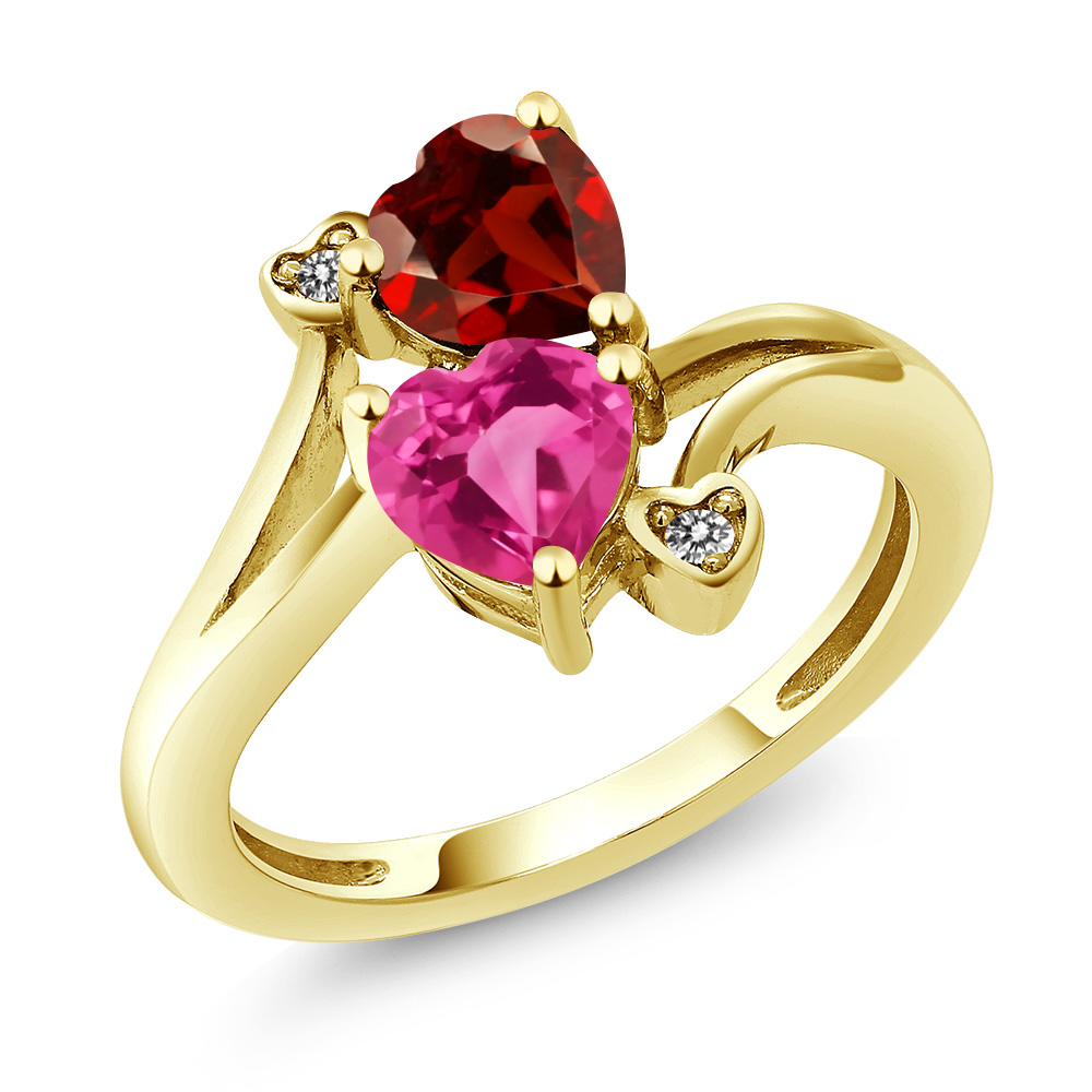 1.73 Ct Heart Shape Pink Created Sapphire Red Garnet 14K Yellow Gold Ring by