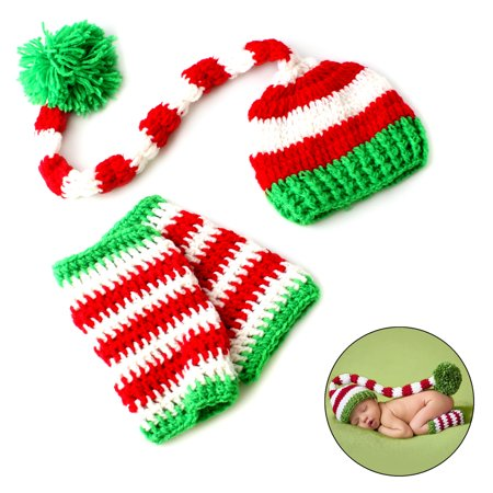 Christmas Crochet Knitted Newborn Baby Long Tail Beanie Hat for Photo Cosplay Props - Red White Green Stripe Hat - Baby Cosplay Ideas