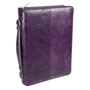 Christian Art Gifts  Faux Leather Bible Cover with Debossed Faith Text, Purple