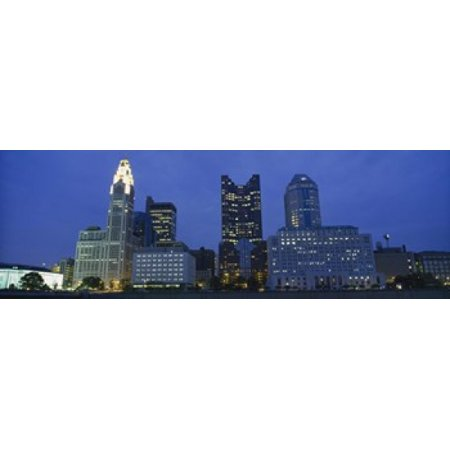 Low angle view of buildings lit up at night Columbus Ohio USA Poster Print - Halloween Usa Columbus Ohio