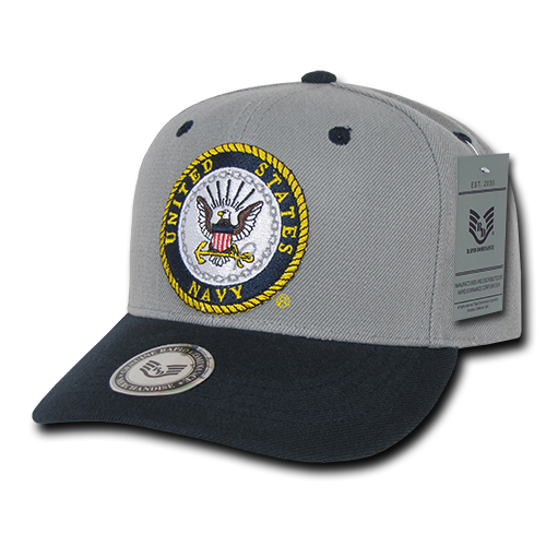 US Navy Workout Military Official Branch Caps Hats Gray/Navy