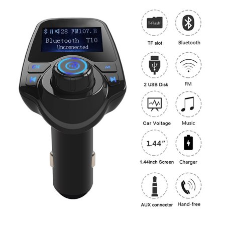 FM Transmitter with Display Bluetooth for Hands Free Radio Receiver Radio Adapter Car Kit With 5V 2.1A USB Car Charger MP3 Player Support TF Card USB Flash Drive Parrot Bluetooth Hands Free Car