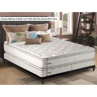 "WAYTON, 12-Inch medium plush Double sided Pillowtop Innerspring Mattress And 4-Inch Split Metal Box Spring/Foundation Set With Frame, No Assembly Required, Good For The Back, Queen Size 79"" x 59"""
