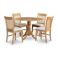 East West Furniture DLNO3-OAK-C 3PC Kitchen Round Table with 2 Drop Leaves and 2 Slatted-back Chairs with Microfiber Upholstered Seat