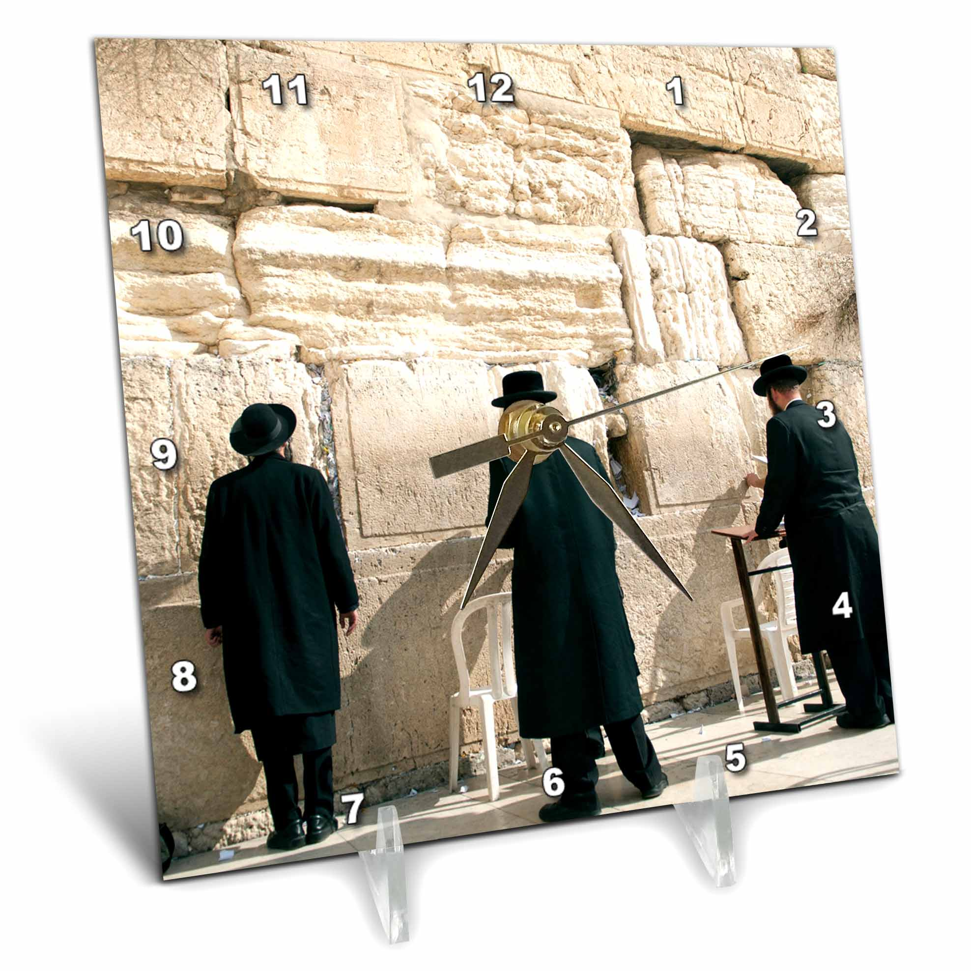 3dRose Israel, Jerusalem, Orthodox men pray, Western Wall AS14 DNY0031 David Noyes, Desk Clock, 6 by 6-inch by 3dRose