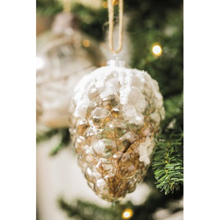 Cypress Home Rustic Snowy Pinecone Clear Glass Ornament