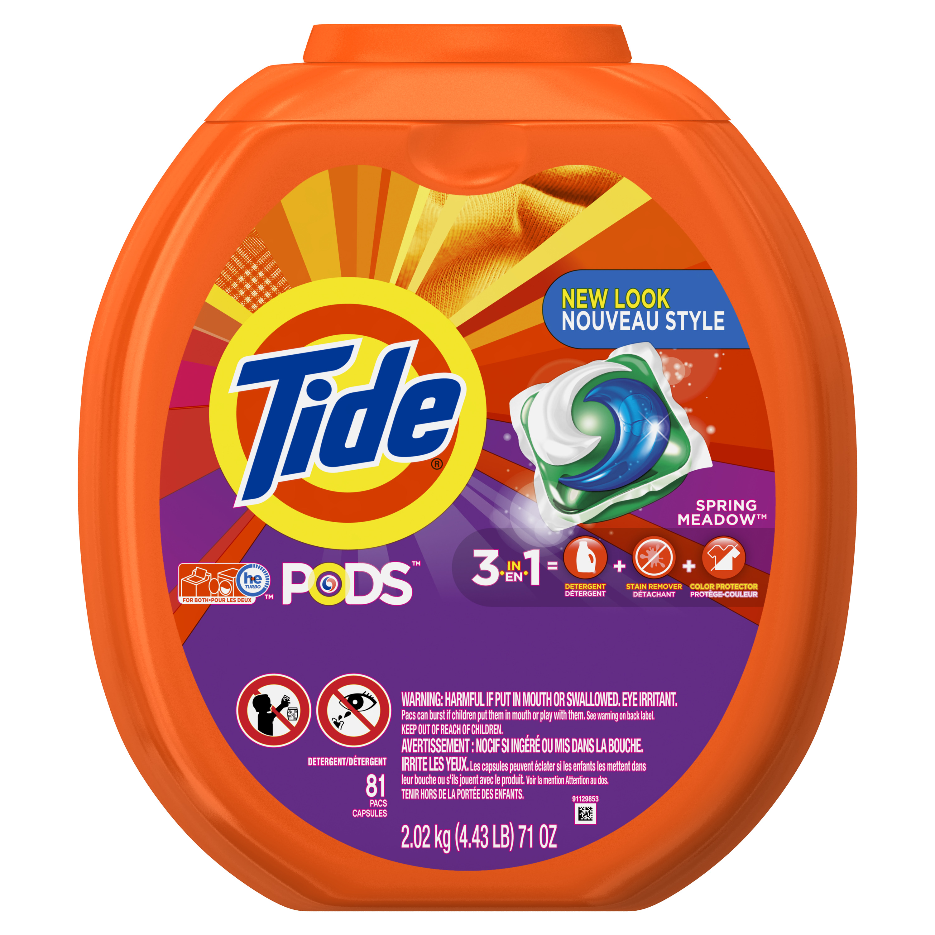Tide PODS Liquid Detergent Pacs, Spring Meadow, 81 loads