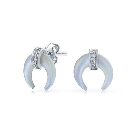 - Boho Fashion Tribal Mother of Pearl CZ White Half Horn Stud Crescent Moon Earrings For Women For 925 Sterling Silver