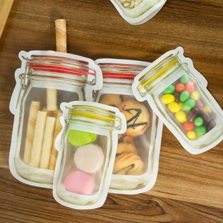 OkrayDirect 4 Pieces Mason Jar Zipper Bags Reusable Snack Saver Bag Leakproof Food