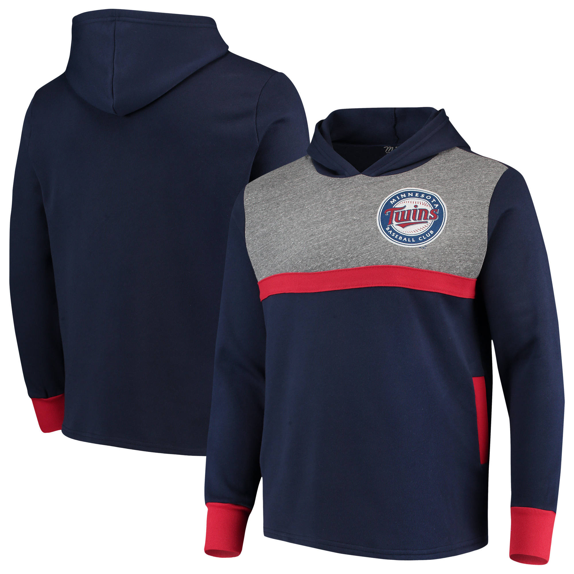 Minnesota Twins Majestic Threads Colorblocked Pullover Hoodie - Navy/Red