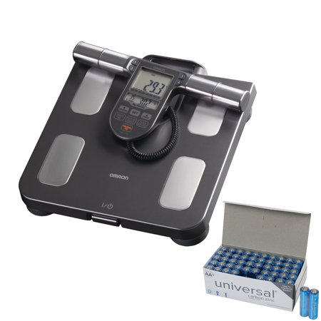 Omron HBF-514C Full-Body Sensor Body Composition Monitor + Scale With 7 Fitness Indicators (90-day Memory) & UPG AA 50 Pack
