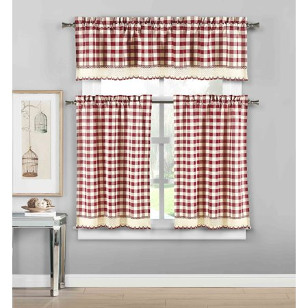 3 Piece Plaid, Checkered, Gingham Kitchen Curtain Set: 35% Cotton, 1 Valance, 2 Tier Panels, with Crochet Accent (Garnet)
