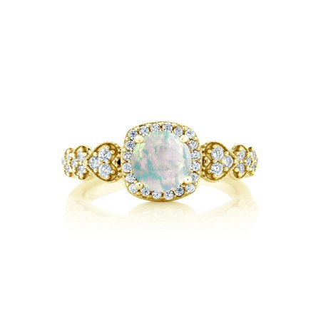 0.62 Ct Round Cabochon White Simulated Opal 18K Yellow Gold Plated Silver Ring - image 1 de 4