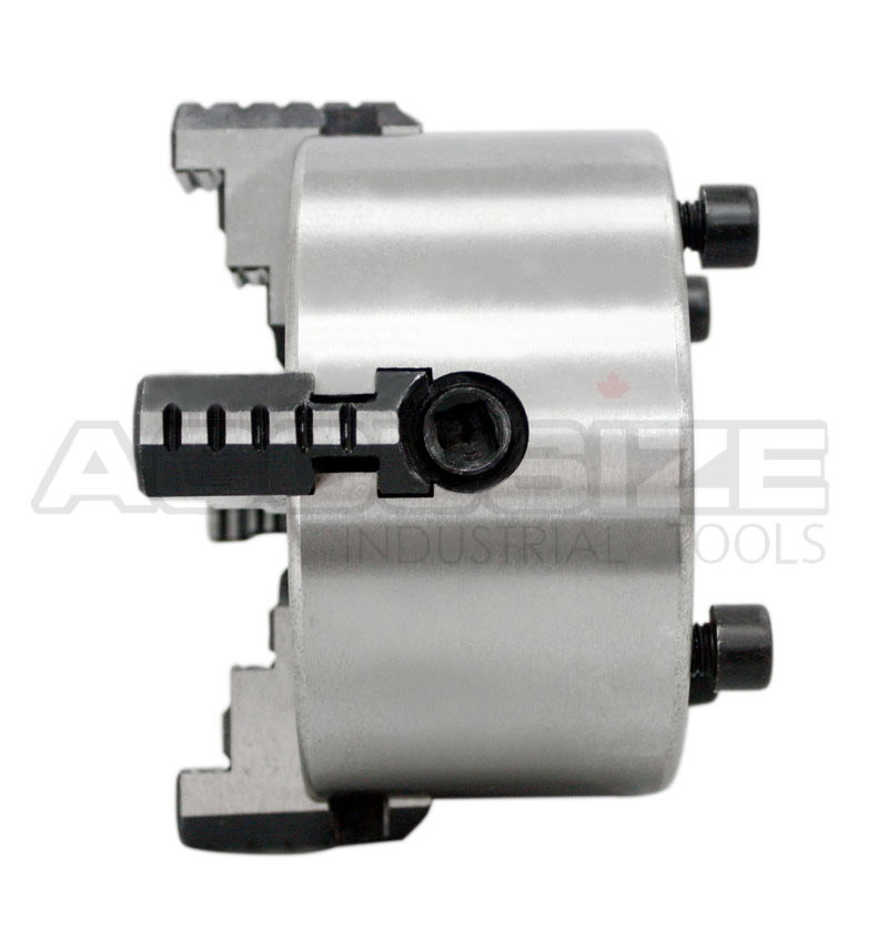 Accusize - 3'', 4'', 6'', 8'' and 10'' 4-Jaw Independent Lathe Chucks, Plain Back. Semi-steel body. Include one set of reversible jaws. (4'') - image 7 of 9