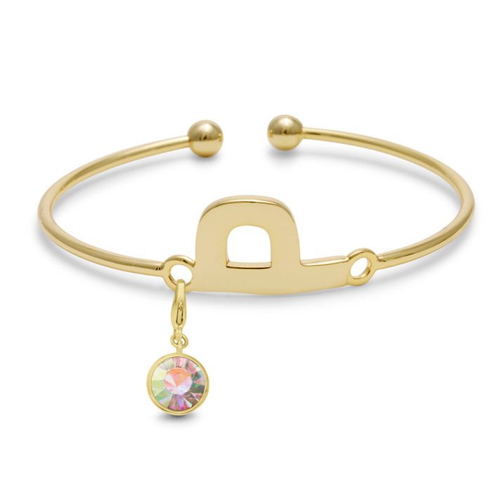 Initial Bangle Bracelet With Opal Crystal Birthstone, For October Babies by SuperJeweler