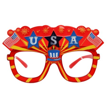 Spirited Spectacles Patriot Pride Red/Yellow Lesless Costume Glasses