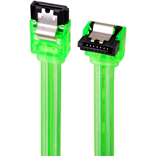 Link Depot 0.5m SATA 6Gbps Cable, Straight to Right Angle, UV Green