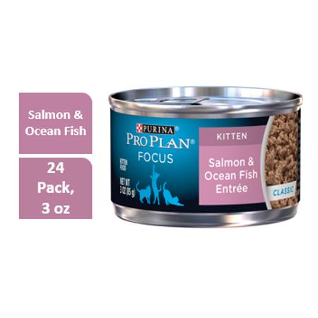 Purina Pro Plan FOCUS Salmon & Ocean Fish Entree Kitten Wet Cat Food - (24) 3 oz. Pull-Top