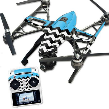 MightySkins Protective Vinyl Skin Decal for Yuneec Q500 & Q500+ Quadcopter Drone wrap cover sticker skins Aqua Chevron