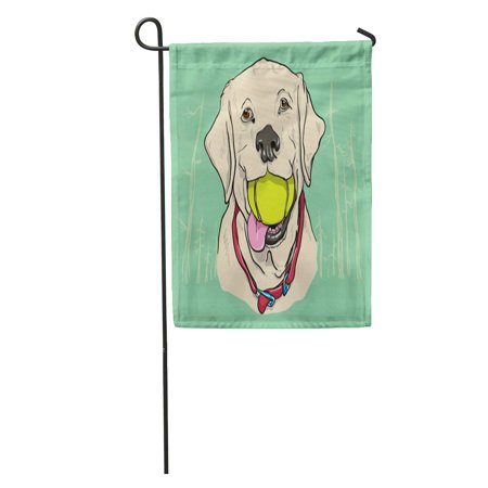 KDAGR Dog Yellow Lab Labrador Ball Cute Face Forest Teeth Action Garden Flag Decorative Flag House Banner 12x18 inch