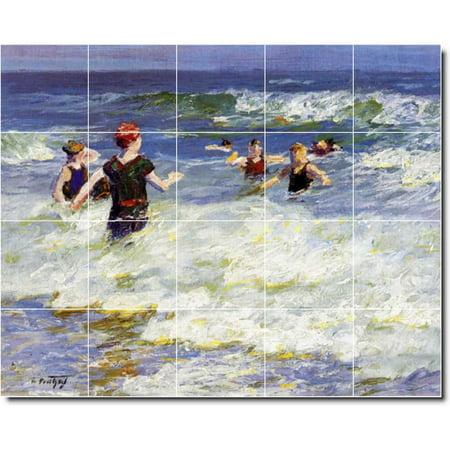 Ceramic Tile Mural Edward Potthast Waterfront Painting 145 60 w x 48