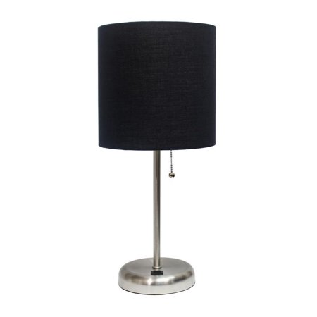 LimeLights Stick Lamp with USB charging port and Fabric Shade, Black