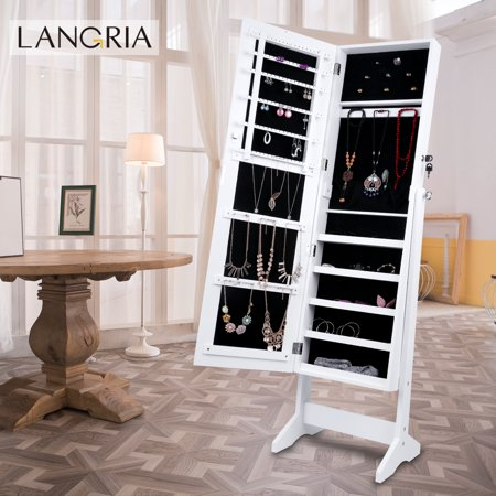 LANGRIA Free Standing Lockable Mirrored Jewelry Armoire with Stand, 4 Angle Adjustable Cabinet Organizer Storage