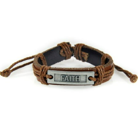 FAITH Leather Bracelet Christian Inspirational Scripture Jesus Bible - In Jesus Name I Play Bracelet