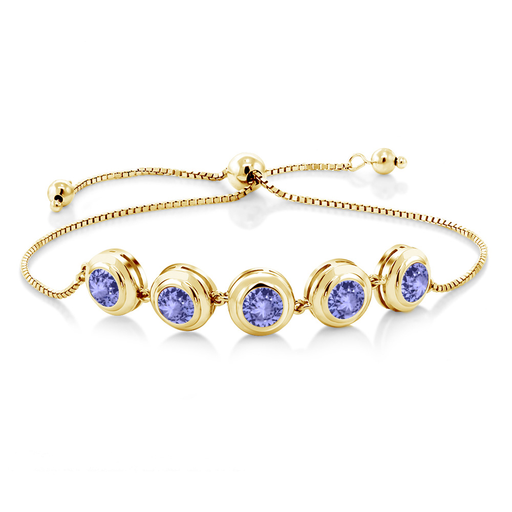 4.50 Ct Round Blue Tanzanite 18K Yellow Gold Plated Silver Bracelet by