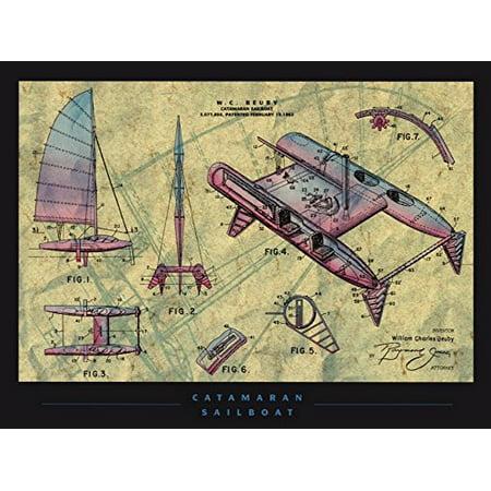 Catamaran Sailboat 36x24 Art Print Poster Catamaran Sailboat Patent Design Drawing Mechanical Design and Dimension Inventor W.C. Beuby