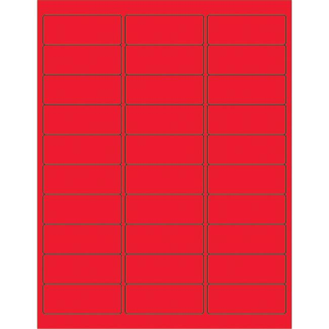 Box Partners LL173RD 2.63 x 1 in. Fluorescent Red Rectangle Laser Labels - Pack of 3000
