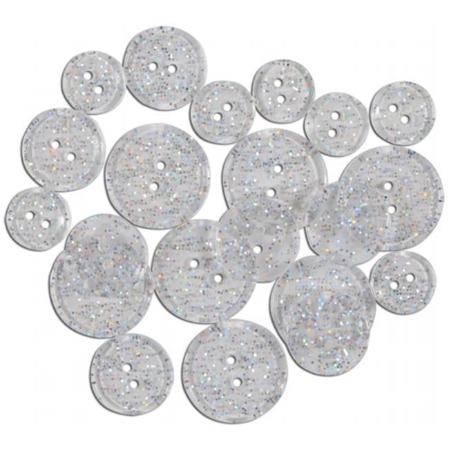 Blumenthal Lansing 482341 Favorite Findings Glitter Buttons-Clear Glitter Transparent