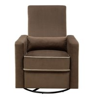 Plush Reclining Glider with Swivel Base in Coffee Brown