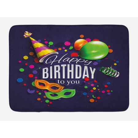 - Birthday Bath Mat, Colorful Balloons Curling Ribbons Carnival Mask Party Hat Confetti Desgin Print, Non-Slip Plush Mat Bathroom Kitchen Laundry Room Decor, 29.5 X 17.5 Inches, Multicolor, Ambesonne
